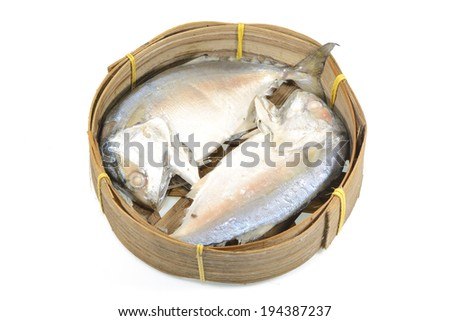Mackerel in basket on white background