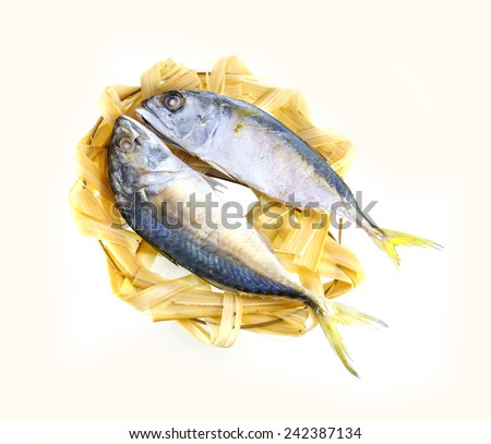 Mackerel steamed on bamboo basket  - stock photo
