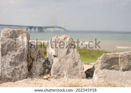 Mackinaw Bridge in Michigan with foreground landscape - stock photo