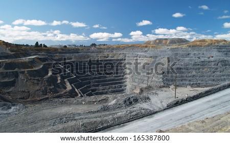 Macraes Flat mine, opencast gold mine, New Zealand - stock photo