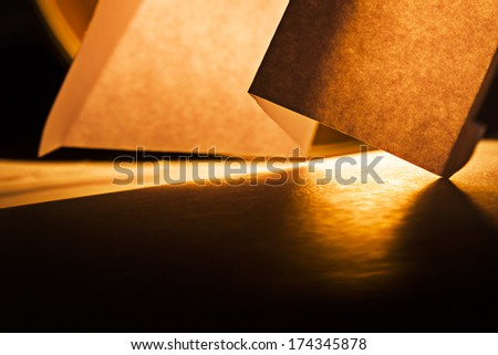 Macro, abstract, background picture of a  orange paper on paper background