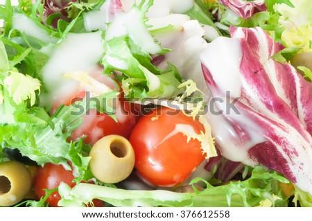 macro background of fresh mediterranean salad with dressing yogurt - stock photo