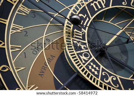 Macro background of old Czech astrological clocks - stock photo