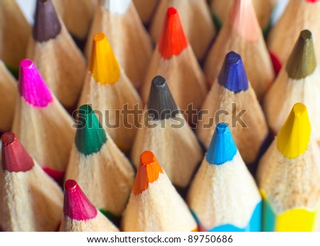 Macro background of the pencil as an element for design. Colored pencils closeup - stock photo