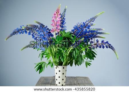 Macro beautiful and delicate bouquet of Wildflowers on grey background studio shot - stock photo