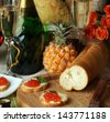 macro beautifully served banquet table, bread fruit champagne - stock photo