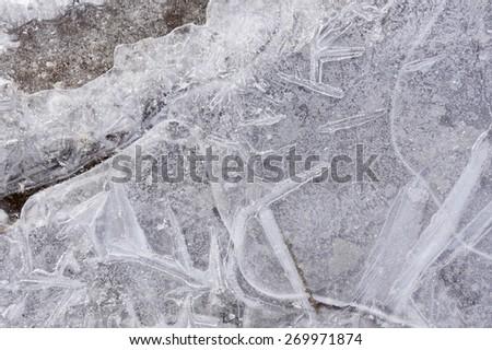 macro bizarre texture of ice and snow - stock photo