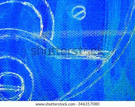 macro blue paint on canvas background - stock photo