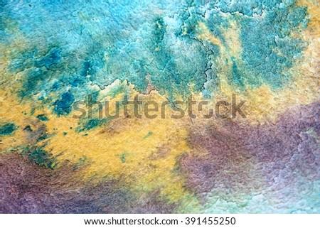 Macro Blue Yellow and Purple Watercolor 5 - stock photo