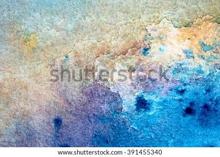 Macro Blue Yellow and Purple Watercolor 4 - stock photo
