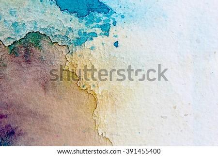 Macro Blue Yellow and Purple Watercolor 3 - stock photo