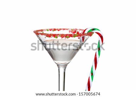 macro clear candy cane martini - stock photo