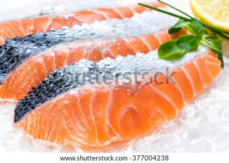 Macro close up of fresh sliced salmon portions on crushed ice with lemon and greens in background.