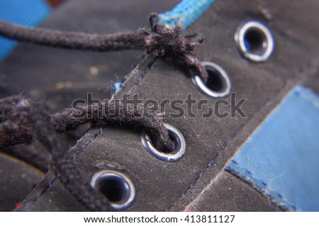 Macro close up of worn jogging shoes