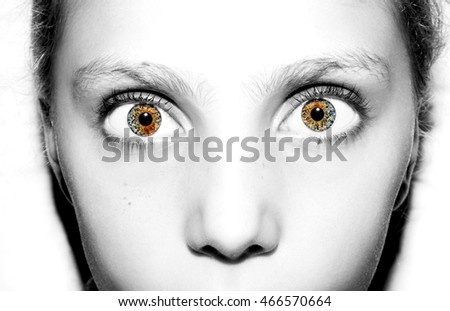 Macro Close up portrait of young girls eyes