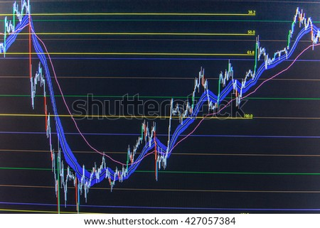 Macro close-up. Shallow DOF. Finance concept. Stock exchange graph. Stock market graph on the screen. Finance background data graph. Stock diagram on the screen. Stock market quotes on display.   - stock photo