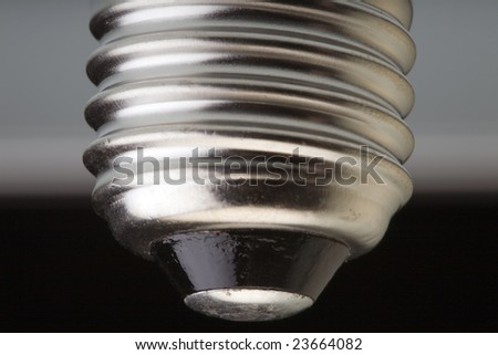 Macro closeup of a screw fitting of a light bulb