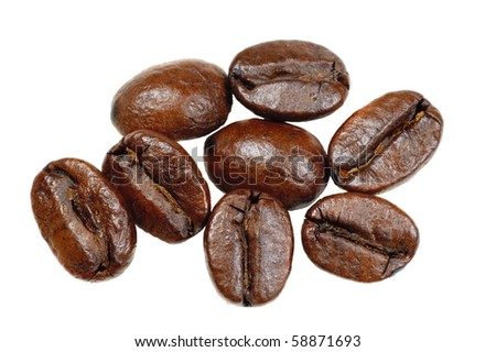 macro closeup of Coffee beans  on a white background - stock photo