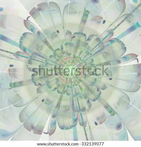Macro closeup of fractal flower, digital artwork for creative graphic design. Colorful texture with floral pattern. Digitally created artwork.