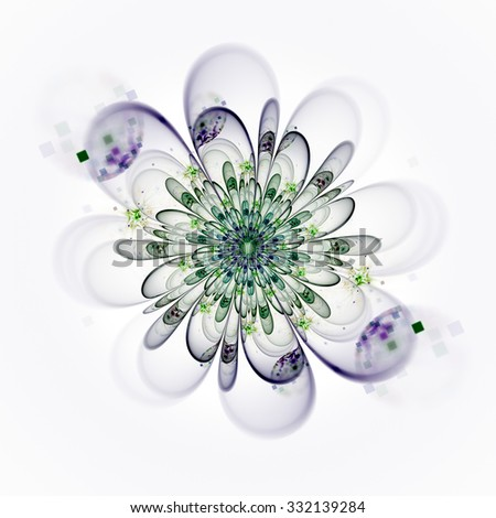 Macro closeup of fractal flower, digital artwork for creative graphic design. Colorful texture with floral pattern. Digitally created artwork. - stock photo