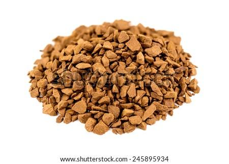 Macro closeup of instant coffee powder - stock photo