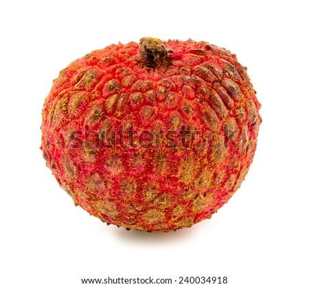 Macro closeup of lychee fruit isolated on white background - stock photo