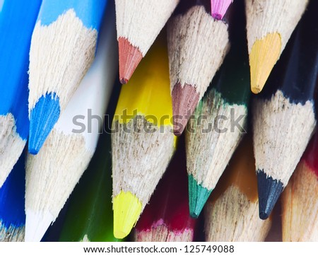 Macro detail of a set of colored pencils - stock photo