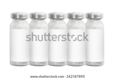 Macro five medicine injection vials isolated on white - stock photo