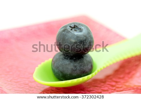 macro from blueberries - stock photo