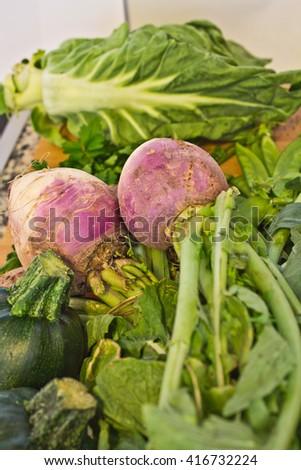 macro from turnip - stock photo