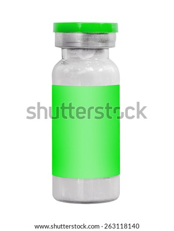 Macro green medicine injection vials isolated on white - stock photo
