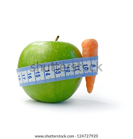 Macro image depicting a diet concept against a white background. Copy space.