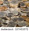 Macro image in deep focus of a pile of USA currency coins in stacks - stock photo