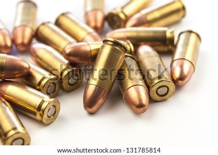 Macro image of a group of 9mm bullets. - stock photo