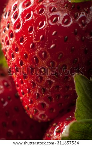 Macro image of a strawberry