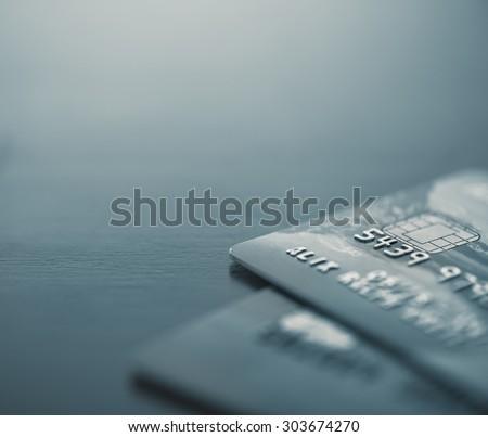 Macro image of credit cards - Split toned - stock photo