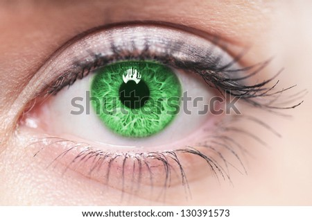 Macro image of green human eye