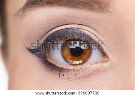 Macro image of human eye. Woman eye - stock photo