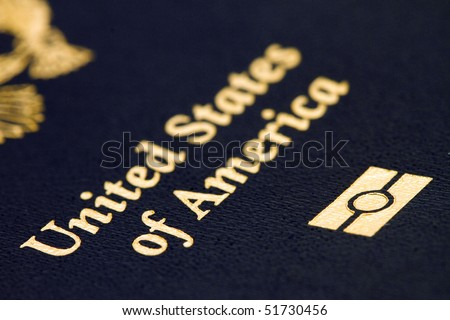 macro image of of a new us  biometric passport - stock photo