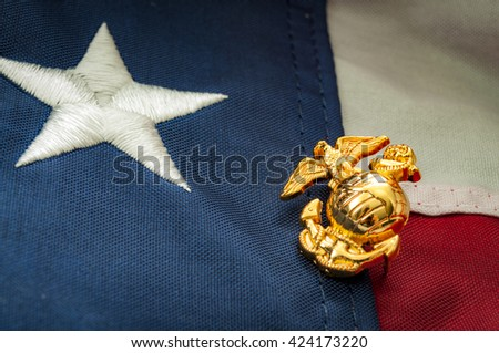 Macro image of the US Marine Corps emblem on the American flag - stock photo