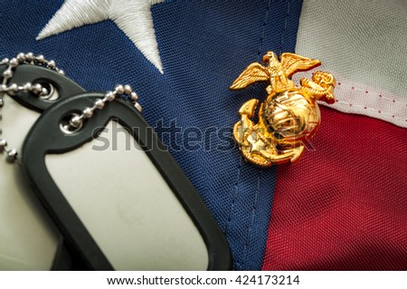 Macro image of the US Marine Corps emblem on the American flag next to military dog tags - stock photo