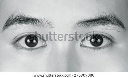 Macro image of Woman eye. monochrome - stock photo