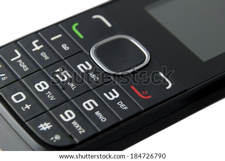 Macro keypad of a cellphone isolated on white background - stock photo