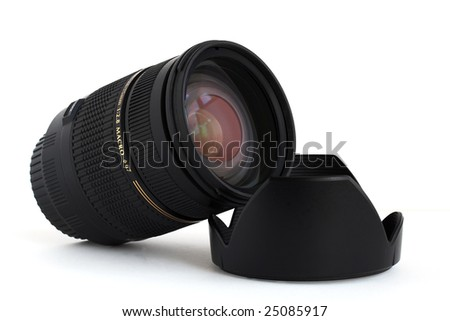 Macro lens for DSLR camera over white background
