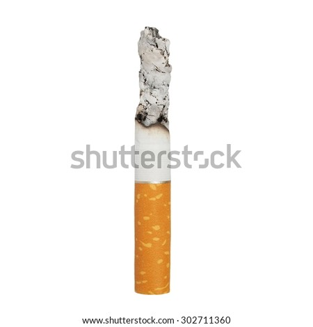 macro lit cigarette isolated on white background,  clipping path - stock photo