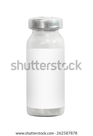 Macro medicine injection vials isolated on white - stock photo