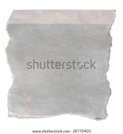 Macro of a blank torn newspaper clipping, isolated on white background. - stock photo