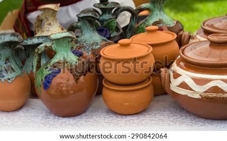 Macro of a lot of pottery stuffes. - stock photo