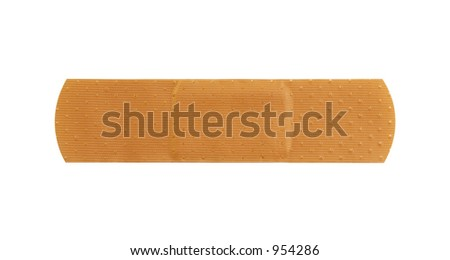 Macro of a plain skin toned bandage, on a white background
