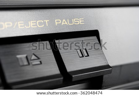 Macro Of A Rectangular Pause Button Of An Old Hifi Stereo Audio System
